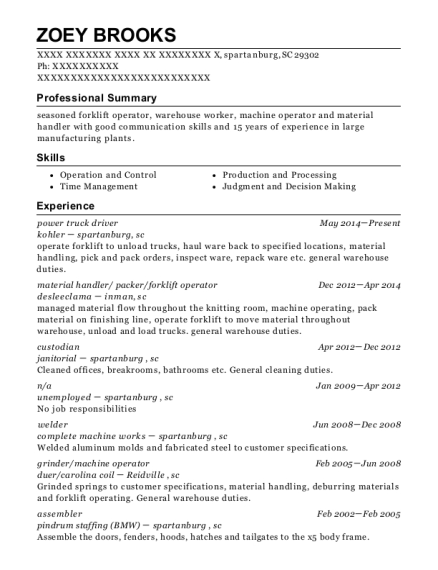 power truck driver resume sample South Carolina