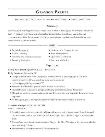 Group Enrollment Specialist resume template South Carolina