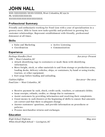 Package Handler resume format South Carolina