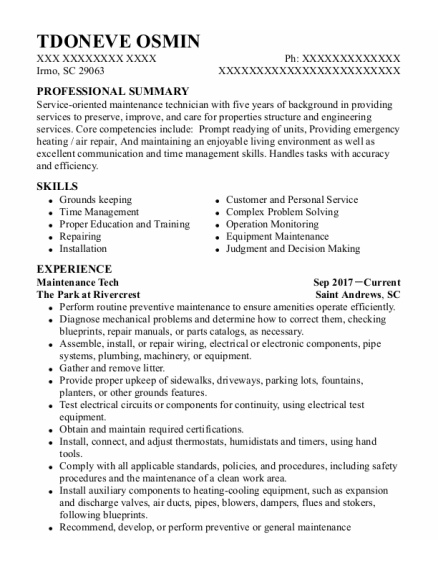 Maintenance Tech resume format South Carolina