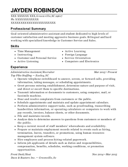 Administrative Assistant resume template South Carolina