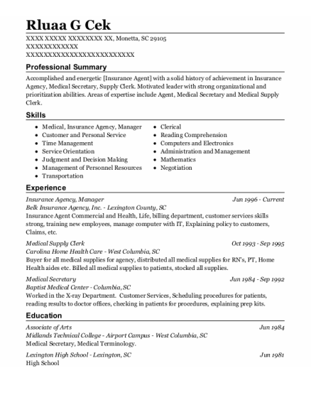 Manager resume sample South Carolina