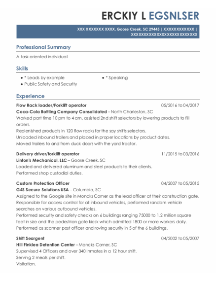 Forklift Operator resume sample South Carolina