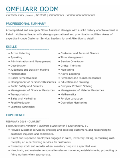 Store Assistant Manager resume sample South Carolina