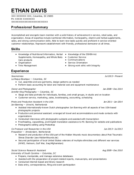 Seamstress resume example South Carolina