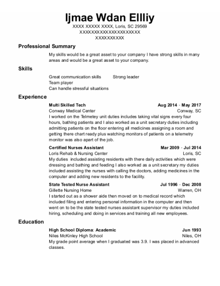 Certified Nurses Assistant resume format South Carolina