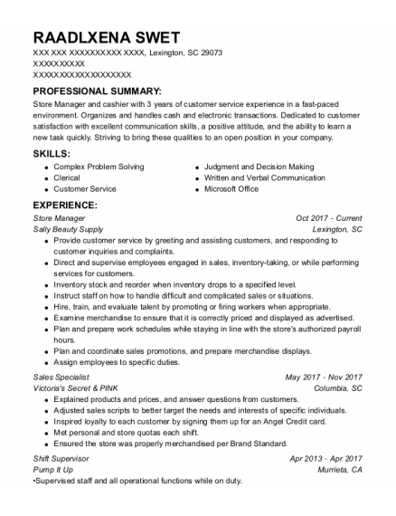 Store Manager resume template South Carolina