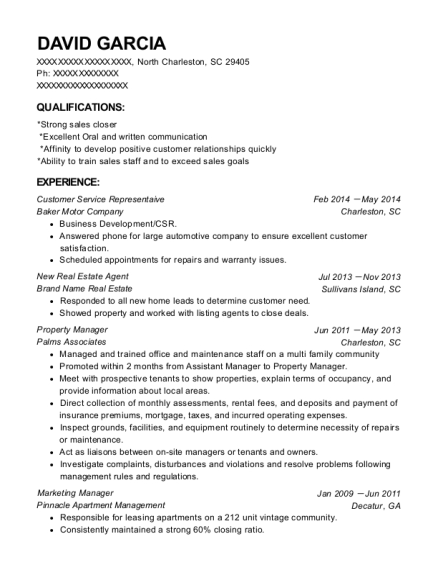 Customer Service Representaive resume template South Carolina