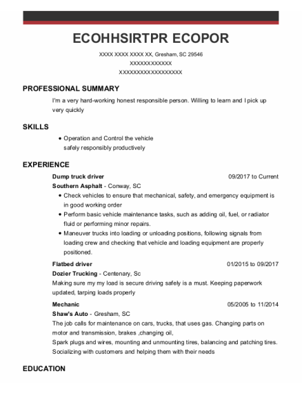 Dump Truck Driver resume sample South Carolina