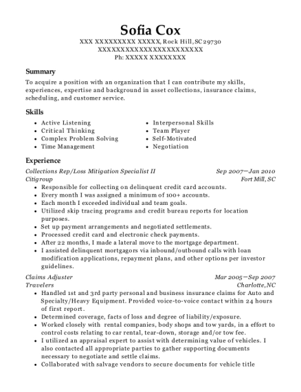 Collections Rep resume sample South Carolina