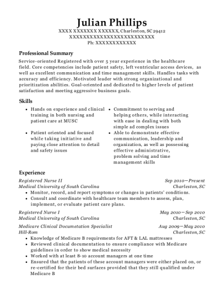 Registered Nurse II resume example South Carolina