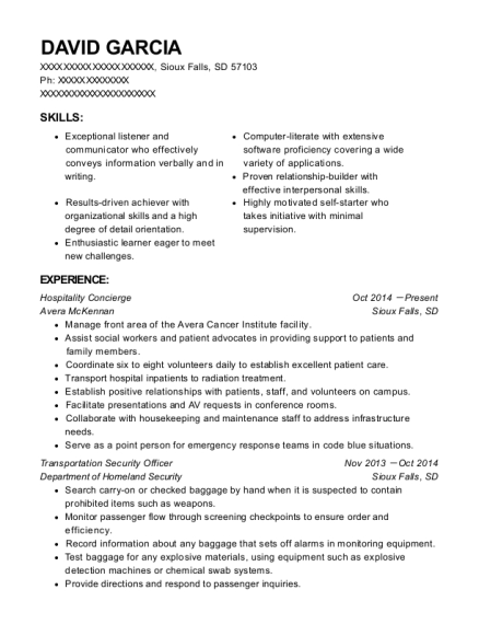 Hospitality Concierge resume example South Dakota