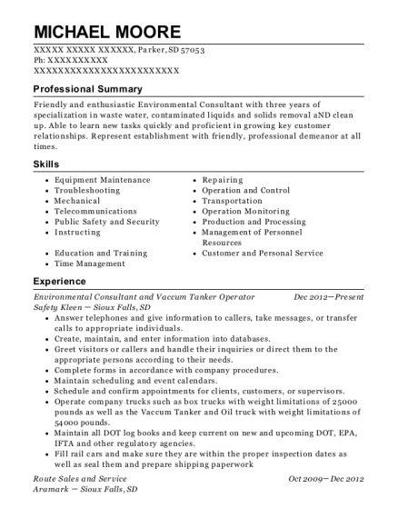 Environmental Consultant and Vaccum Tanker Operator resume template South Dakota