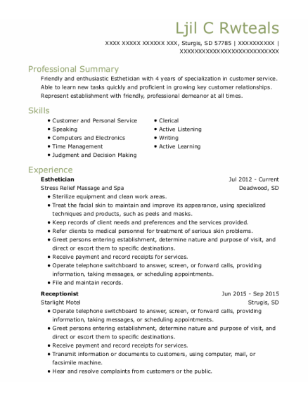 Esthetician resume format South Dakota