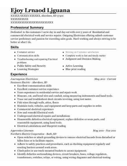 Journeyman Electrician resume format South Dakota