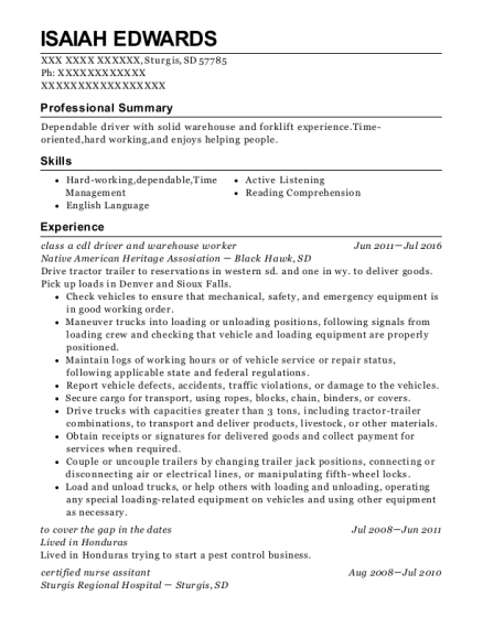 class a cdl driver and warehouse worker resume template South Dakota