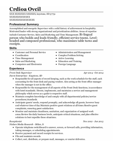 Front Desk Supervisor resume example South Dakota