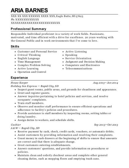 House Keeper resume format South Dakota