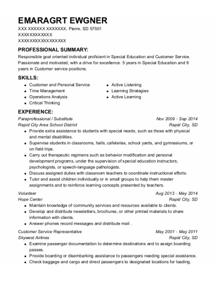 Paraprofessional resume format South Dakota