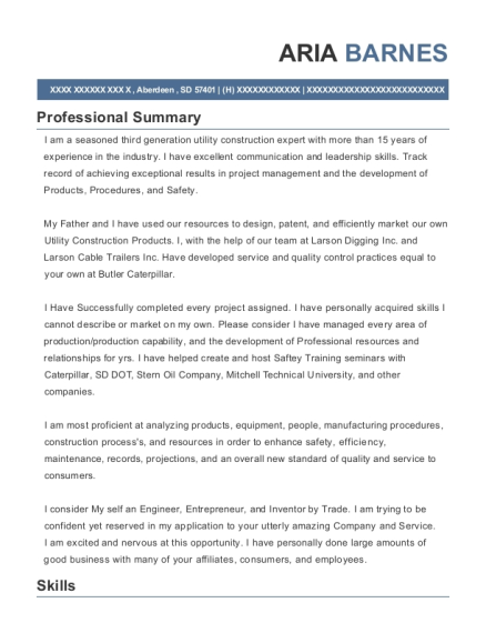 Research and Development Director resume example South Dakota