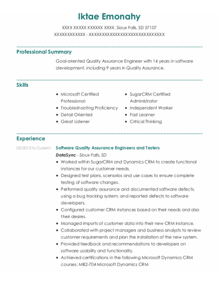 Software Quality Assurance Engineers And Testers resume sample South Dakota