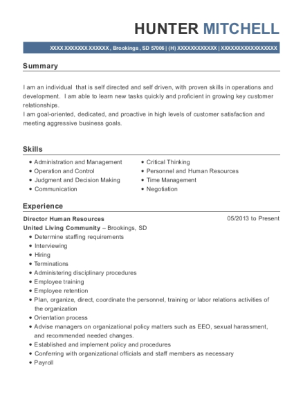 Director Human Resources resume template South Dakota