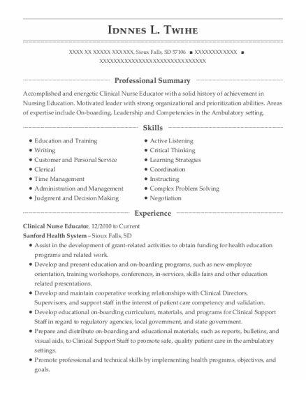 Clinical Nurse Educator resume template South Dakota