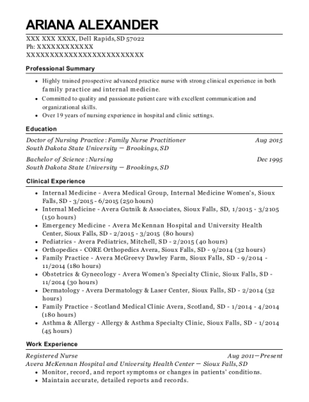 Registered Nurse resume example South Dakota