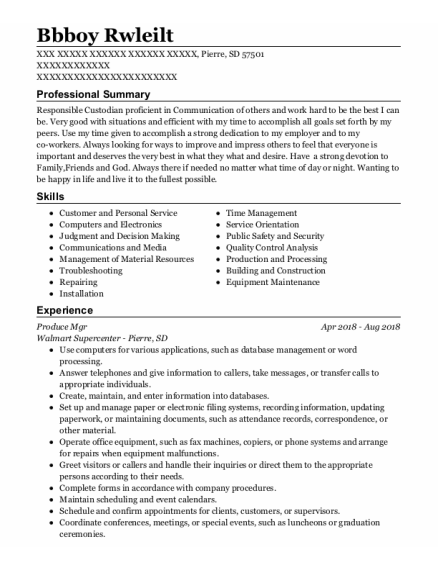 Head Custodian resume sample South Dakota