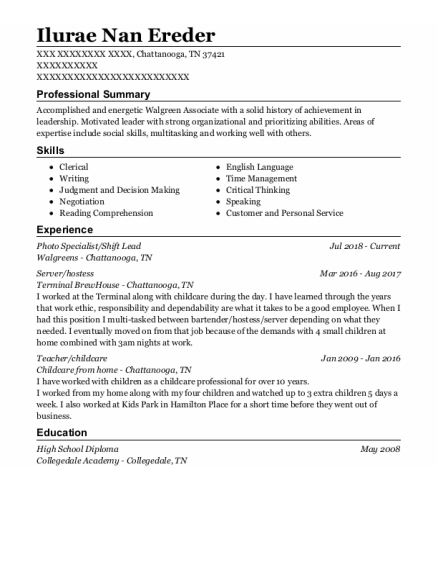 Photo Specialist resume example Tennessee