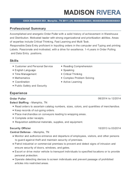 Order Puller resume example Tennessee