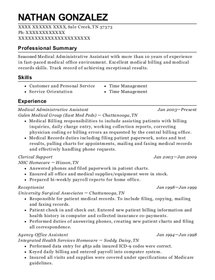 Medical Administrative Assistant resume format Tennessee