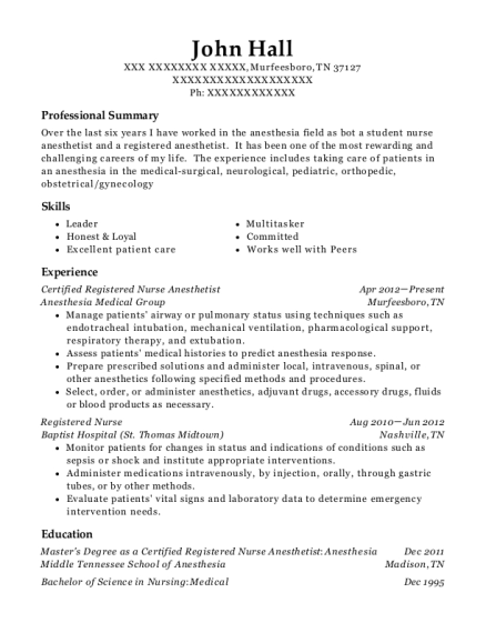 Certified Registered Nurse Anesthetist resume example Tennessee