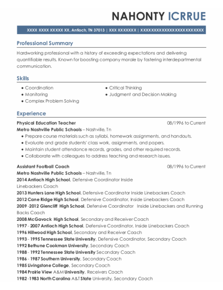 Physical Education Teacher resume example Tennessee