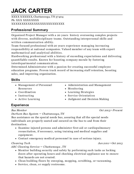 Bus Monitor resume sample Tennessee