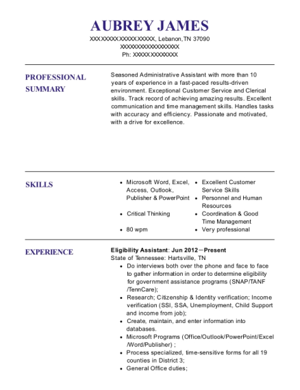 Eligibility Assistant resume example Tennessee