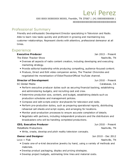 Best Executive Producer Resumes