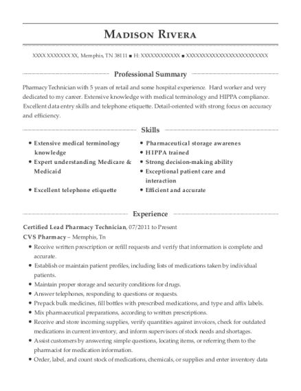 Certified Lead Pharmacy Technician resume example Tennessee