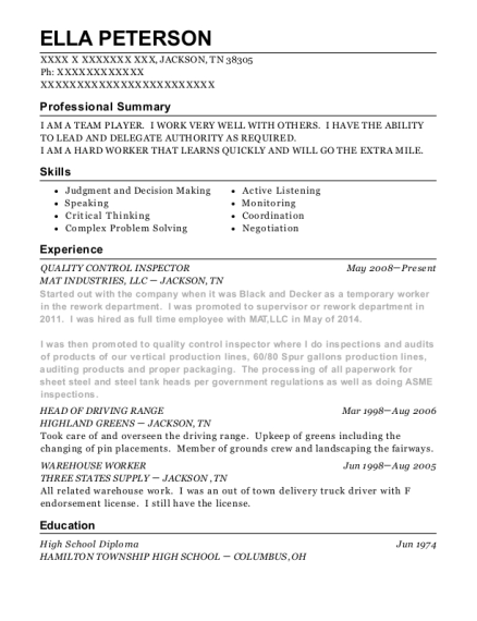QUALITY CONTROL INSPECTOR resume example Tennessee