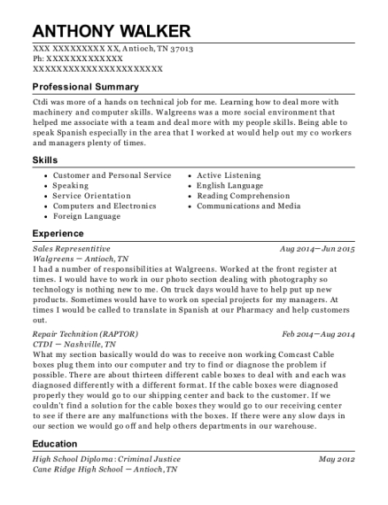 Sales Representitive resume example Tennessee