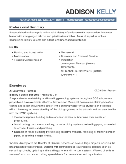 Journeyman Plumber resume format Tennessee