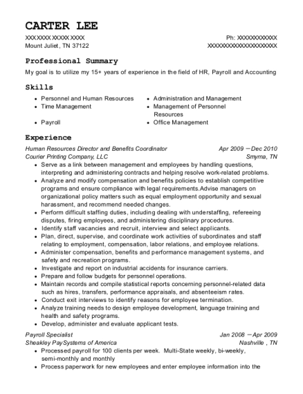 Human Resources Director and Benefits Coordinator resume sample Tennessee
