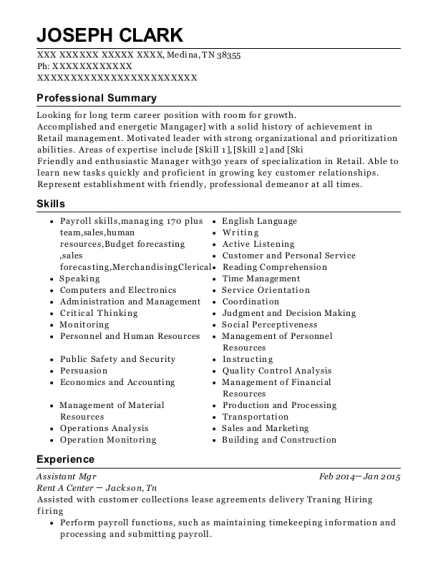 Assistant Mgr resume template Tennessee