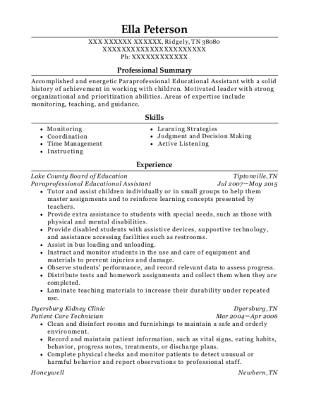 Paraprofessional Educational Assistant resume example Tennessee