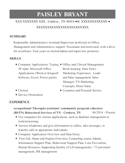 occupational Therapist assistant resume template Tennessee