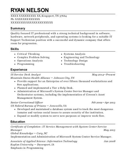 IS Service Desk Analyst resume sample Tennessee