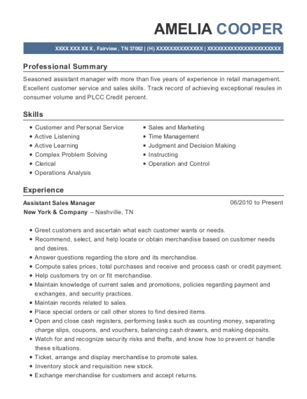 Assistant Sales Manager resume sample Tennessee