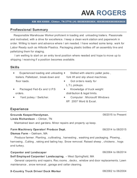 Grounds Keeper resume template Tennessee