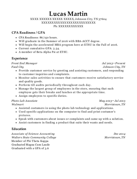 Front End Manager resume template Tennessee