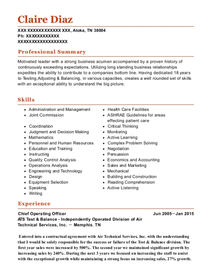 Chief Operating Officer resume format Tennessee